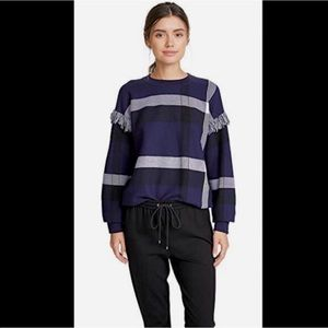 TORY BURCH Gwen Plaid Sweater Made in Italy Size L